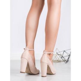 Ideal Shoes Czółenka Zapinane Sprzączką brązowe 5