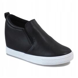Czarne sneakersy na koturnie DD384-4 1