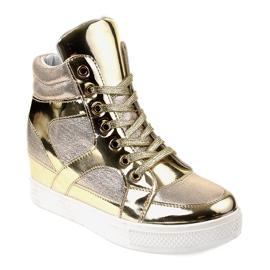 Złote Lakierowane Ażurowe Sneakersy L641-2 żółte 1