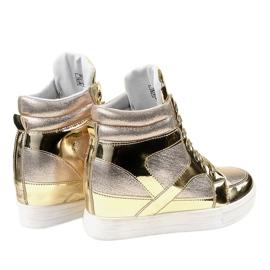 Złote Lakierowane Ażurowe Sneakersy L641-2 żółte 3