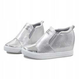 Srebrne ażurowe sneakersy na koturnie DD392-2 szare 2