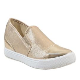 Złote sneakersy na koturnie DD436-8 żółte 1