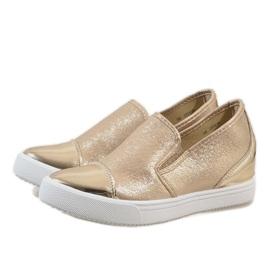 Złote sneakersy na koturnie DD436-8 żółte 2