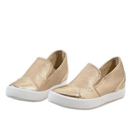 Złote sneakersy na koturnie DD436-8 żółte 3