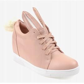 Różowe sneakersy na koturnie króliczki H6210-11 1