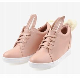 Różowe sneakersy na koturnie króliczki H6210-11 2