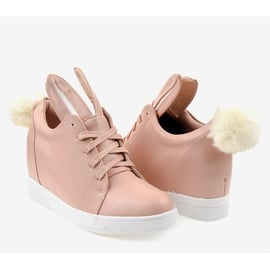 Różowe sneakersy na koturnie króliczki H6210-11 3
