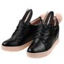 Czarne sneakersy na koturnie króliczki H6210 zdjęcie 3