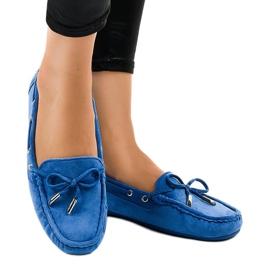 Niebieskie mokasyny balerinki z kokardką F03-3 2