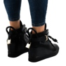 Czarne sneakersy na koturnie z klamrą H6600A zdjęcie 3