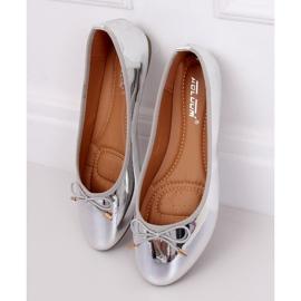 Baleriny metaliczne srebrne 9988-139 Silver szare 1