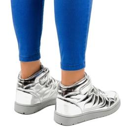 Srebrne Lakierowane Sneakersy XW7082 szare 3