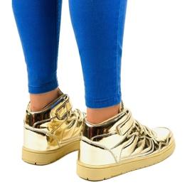 Złote Lakierowane Sneakersy XW7082 złoty 3