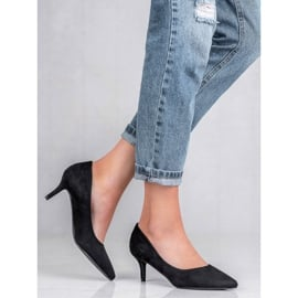 Ideal Shoes Wygodne Czółenka Na Szpilce czarne 1