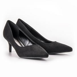 Ideal Shoes Wygodne Czółenka Na Szpilce czarne 4