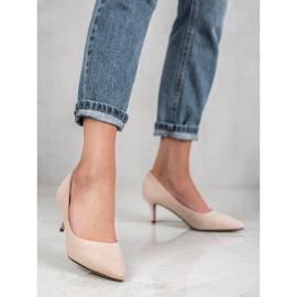 Ideal Shoes Wygodne Czółenka Na Szpilce brązowe 3