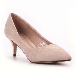Ideal Shoes Wygodne Czółenka Na Szpilce brązowe 4