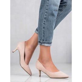 Ideal Shoes Wygodne Czółenka Na Szpilce brązowe 2