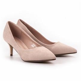 Ideal Shoes Wygodne Czółenka Na Szpilce brązowe 5