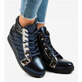 Granatowe sneakersy na koturnie R468-1 2