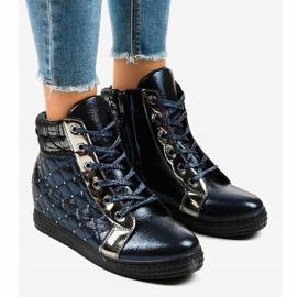 Granatowe sneakersy na koturnie R468-1 1
