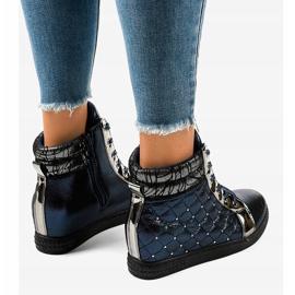 Granatowe sneakersy na koturnie R468-1 4