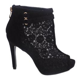 Sandały Na Szpilce 8709 Czarny czarne 1