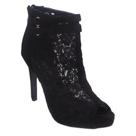 Sandały Na Szpilce 8709 Czarny czarne 2