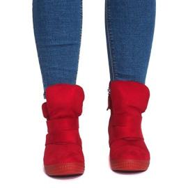 Sneakersy Na Koturnie Z Rzepą 1703 Czerwony czerwone 1