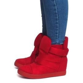 Sneakersy Na Koturnie Z Rzepą 1703 Czerwony czerwone 2