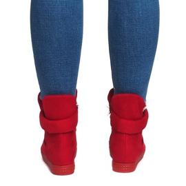 Sneakersy Na Koturnie Z Rzepą 1703 Czerwony czerwone 3