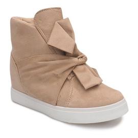 Sneakersy Na Koturnie 1787 Beżowy 2