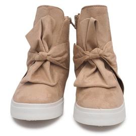 Sneakersy Na Koturnie 1787 Beżowy 4