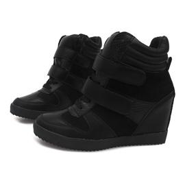 Sneakersy Na Koturnie LB239 Czarny czarne 1