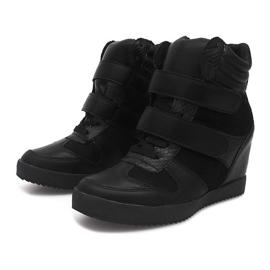 Sneakersy Na Koturnie LB239 Czarny czarne 2