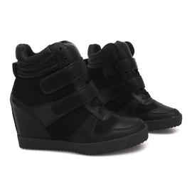 Sneakersy Na Koturnie LB239 Czarny czarne 4