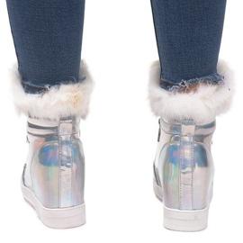 Ocieplane Sneakersy R-99 Srebrny szare 2