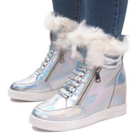 Ocieplane Sneakersy R-99 Srebrny szare 3
