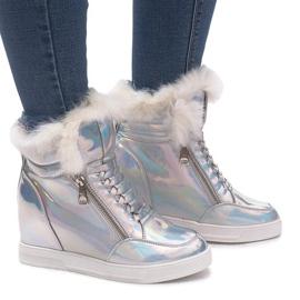 Ocieplane Sneakersy R-99 Srebrny szare 1