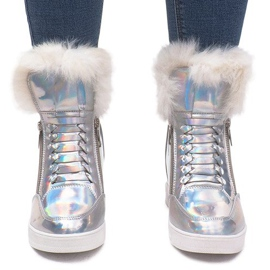 Ocieplane Sneakersy R-99 Srebrny szare 4