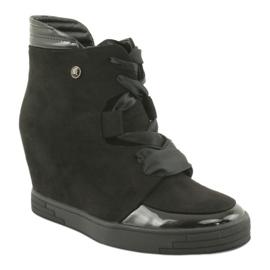 Sergio Leone Botki Sneakersy Z Kokardą Na Suwak czarne 1