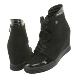 Sergio Leone Botki Sneakersy Z Kokardą Na Suwak czarne 4