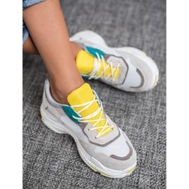 SHELOVET Sznurowane Obuwie Sportowe szare żółte 1