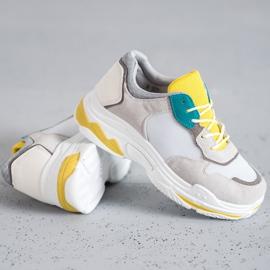 SHELOVET Sznurowane Obuwie Sportowe szare żółte 2
