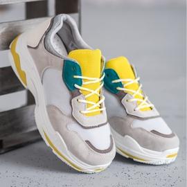 SHELOVET Sznurowane Obuwie Sportowe szare żółte 3