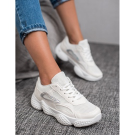 SHELOVET Tekstylne Buty Sportowe białe 4