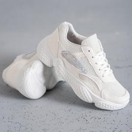 SHELOVET Tekstylne Buty Sportowe białe 3