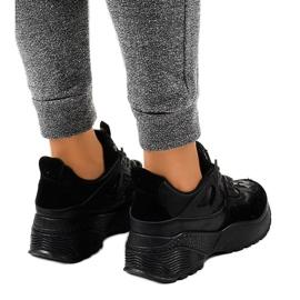 Czarne modne damskie obuwie sportowe C2 3