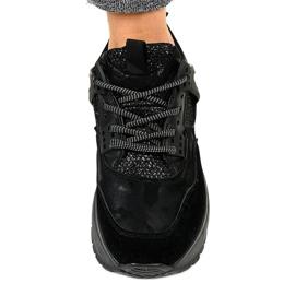 Czarne modne damskie obuwie sportowe C2 4