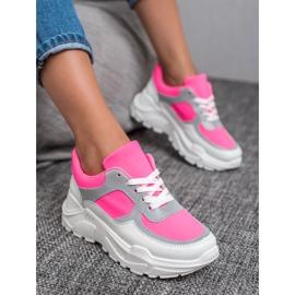 Ideal Shoes Neonowe Obuwie Sportowe białe różowe wielokolorowe 1